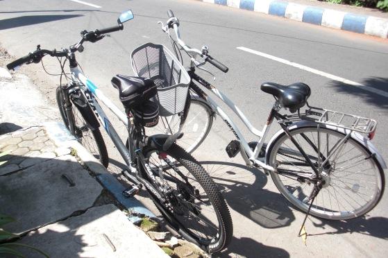 Sepeda saya dan Bapak yang sedang menepi dijalan.